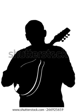 Man whit mandolin in country style on white background - stock vector