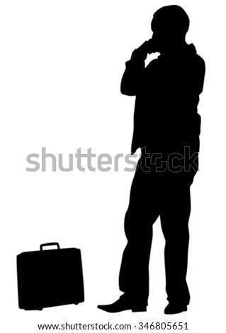 Man whit travel big suitcases on white background - stock vector