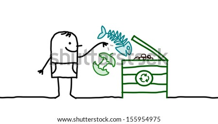 man who makes organic compost - stock vector
