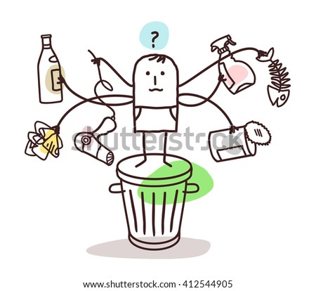 man who sorts the trash - stock vector