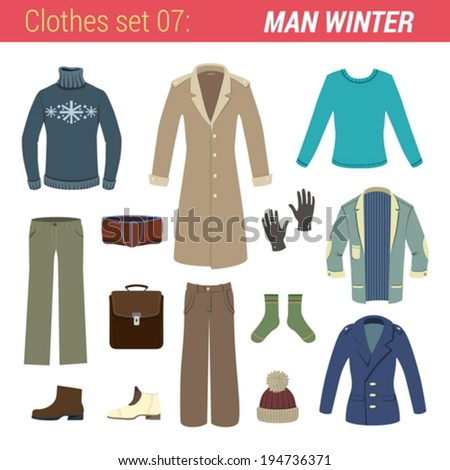 Man winter clothing vector icon set. Sweater, pants, socks, gloves, hat, jacket, briefcase, boots, trousers.   Clothes collection.