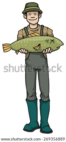 man with a big fish he just caught, vector illustration - stock vector