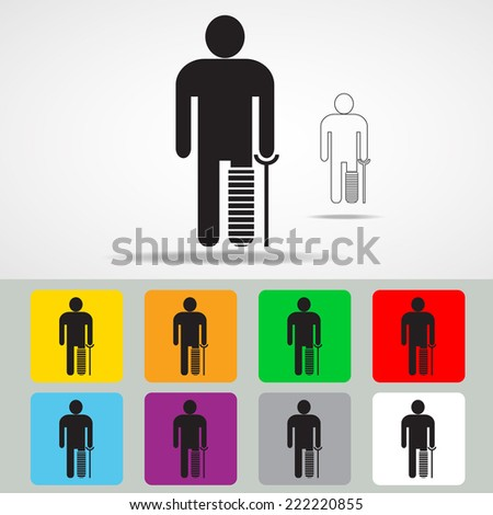 Man with a  broken leg on crutch icon with color variations, vector EPS 10. - stock vector