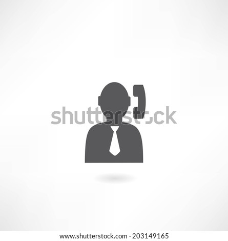 man with a handset icon - stock vector