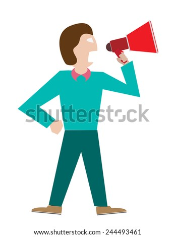 man  with a megaphone - stock vector