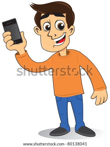 man with a mobile phone - stock vector