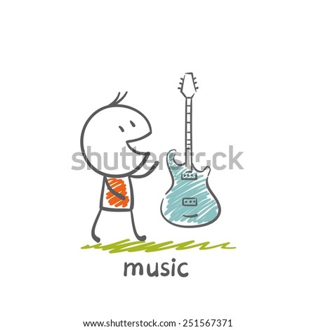 man with a musical instrument electric guitar illustration - stock vector