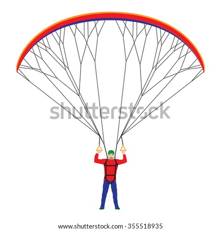 Man with a paraglider. Paraglider. Paraplane. Kite.  - stock vector