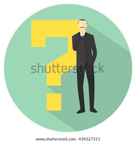 """Man with a question mark. Businessman doubts. """"I don't know"""" expression. Making decision sign. Flat design. Vector illustration - stock vector"""