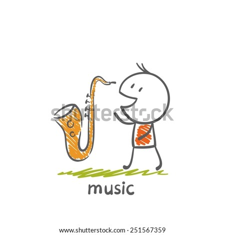 man with a sax musical instrument illustration - stock vector