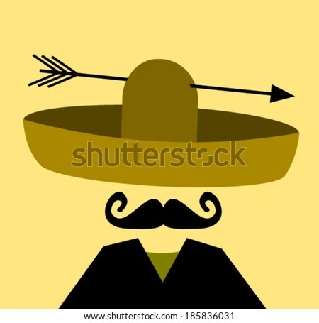 man with arrow through sombrero - stock vector