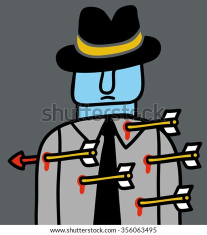 Man with arrows stuck in the body - stock vector