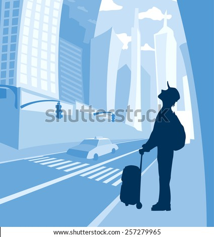 man with bag and backpack standing and looking up at the big city skyscrapers  - stock vector