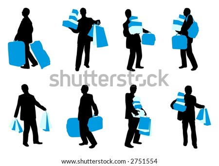 Man with bags - stock vector