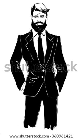 Man with Beard in Stylish Suit