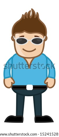 Man with Black Goggles - Office Corporate Cartoon People - stock vector