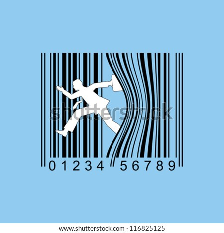 man with briefcase leaning up against bar code - stock vector