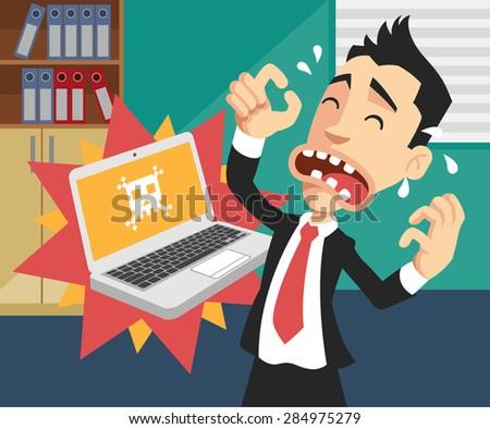 Man with broken computer. Vector flat illustration - stock vector