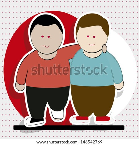 Man with broken leg aided by another person walking, white background with red dots. - stock vector