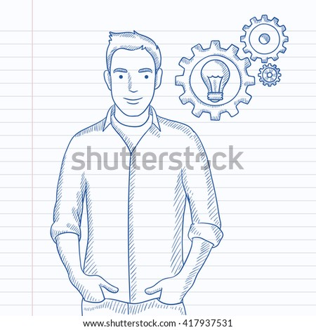 Man with bulb and gears. - stock vector