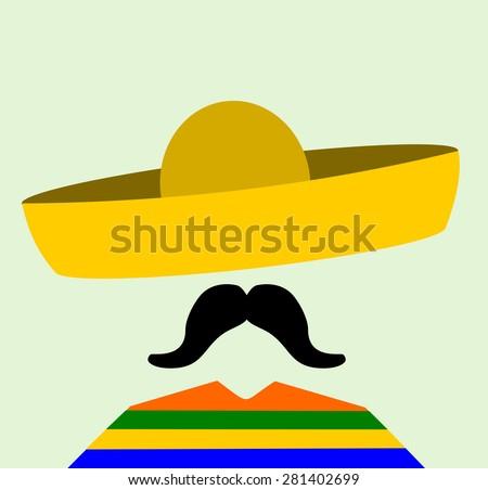 man with bushy mustache wearing sombrero - stock vector