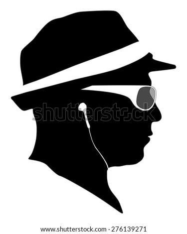 Man with cap and sunglass silhouettes with ear-phones listening to music. - stock vector