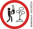 man with chainsaw, traffic sign sign - stock photo