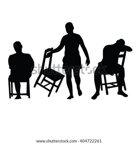 man with chair silhouette illustration in black color
