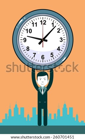 Man with clocks symbolizing time management, productivity, planning and scheduling. Stock Vector illustration Eps10 file. - stock vector