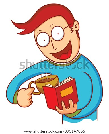 man with coffee and book