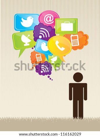 Man with communications icons over vintage background - stock vector