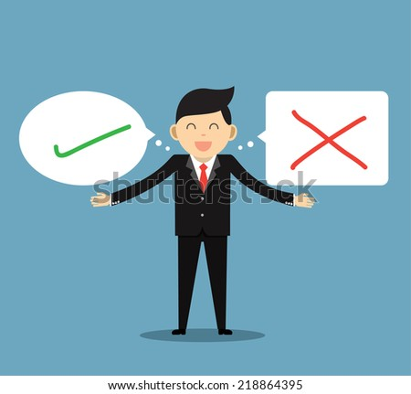 man with correct and wrong symbols. illustration of human character  - stock vector