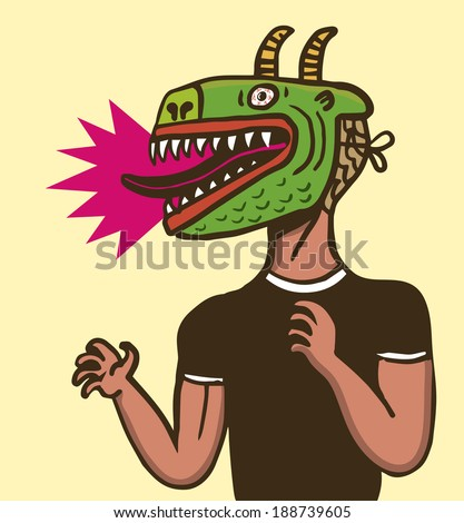 Man with dragon mask - stock vector