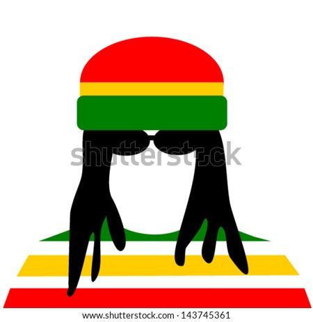 man with dreadlocks wearing rastafarian clothes - stock vector
