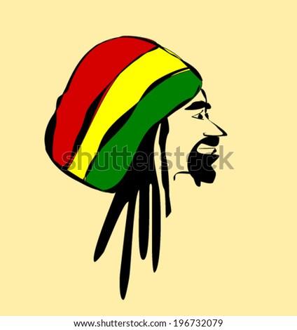 man with dreadlocks wearing reggae hat - stock vector