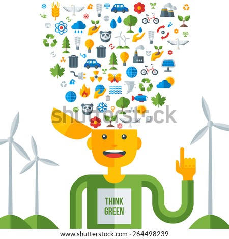 Man with ecology icons in his head, think green. Vector illustration. Save world. Save the planet. Save the Earth. Creative concept of Eco Technology. Think green. - stock vector
