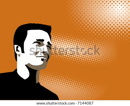Man with ethereal vector background