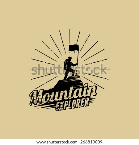 Man with flag standing on top of the mountain peak, looking out into the distance  - stock vector