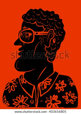 Man with flower pattern shirt and sunglasses - stock vector