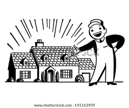 Man WIth Freshly Painted House - Retro Clip Art Illustration - stock vector
