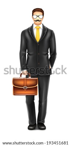 Man with Glasses and Mustache - stock vector