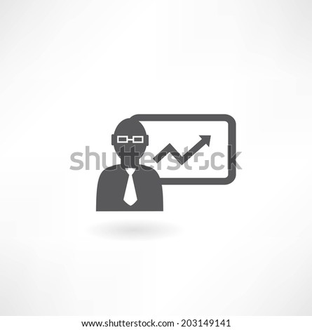 man with graph icon - stock vector