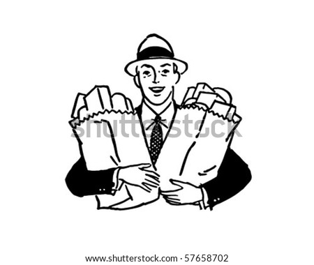 Man With Groceries - Retro Clip Art - stock vector