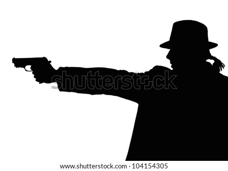 man with gun - stock vector