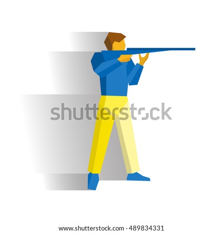 Man with gun. Shooter with shotgun isolated on white background with shadows. International competition infographic. Shooting ssport - flat style vector clip art.