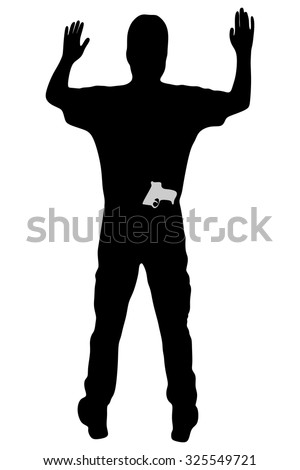 Man with gun surrendering with both hands raised in air - stock vector