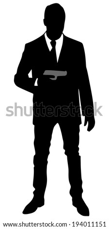 Man with gun, vector  - stock vector