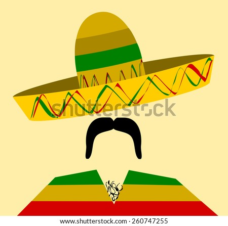 man with hairy chest and big mustache wearing sombrero - stock vector