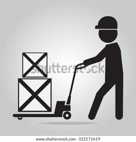 Man with hand pallet jack lift sign, Hand Pallet Truck illustration - stock vector