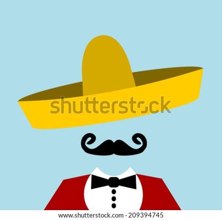 man with handlebar mustache and sombrero - stock vector